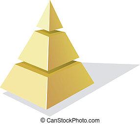 vettore, sfondo dorato, piramide, bianco, illustrazione