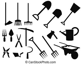 vettore, silhouette, attrezzi gardening, set