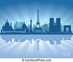 vettore, silhouette, città, parigi francia, orizzonte