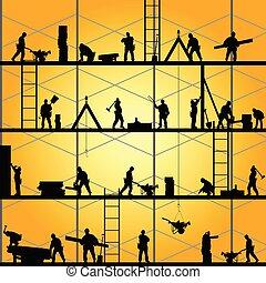 vettore, silhouette, lavoro, lavoratore, illustrazione, costruzione