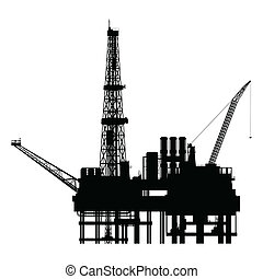 vettore, silhouette, piattaforma, olio