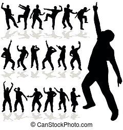 vettore, silhouette, uomo, ballo