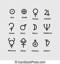vettore, simboli, pianeta