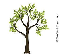 vettore, simbolo, albero., verde, natura