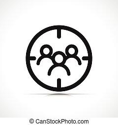 vettore, simbolo, cliente, bersaglio, icona