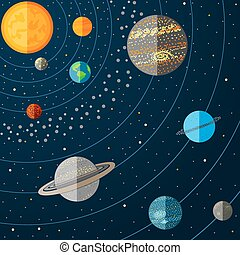 vettore, sistema solare, illustrazione, planets.