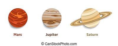 vettore, sistema solare, pianeti, carta, taglio, illustrazione