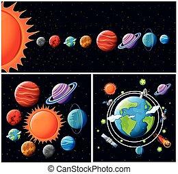 vettore, sistema, solare
