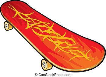vettore, skateboard