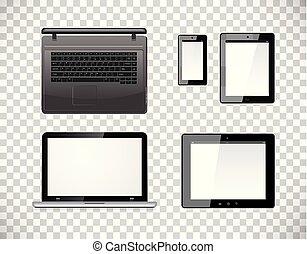 vettore, smartphone, computer, tavoletta, fondo., mobile, isolato, screen., pc, checkered, trasparenza, vuoto, laptop
