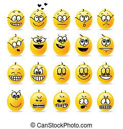 vettore, smiley, umori, emozioni