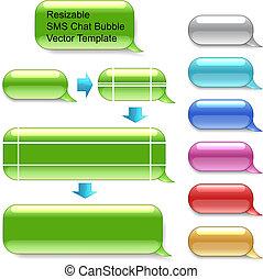vettore, sms, resizable, chiacchierata, sagoma