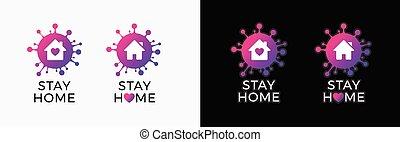 vettore, sociale, virus, nero, 19, bianco, coronavirus, casa, campaign., covid, stare, cuore, logotipo, -, covid-19, casa, protezione, adesivo, virus, isolato, media, icona