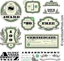 vettore, soldi, cornice, set, ornamento