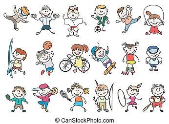 vettore, sport, attività, bambini
