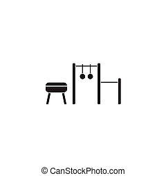 vettore, sport, nero, icon., segno, apparecchiatura, illustrazione, concetto, appartamento