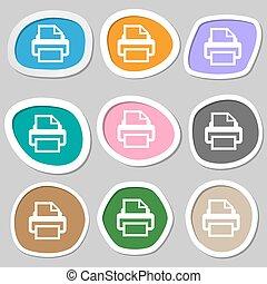 vettore, stampa, segno, simbolo., variopinto, carta, stampa, icon., stickers.