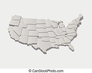 vettore, stati uniti, mappa, 3d