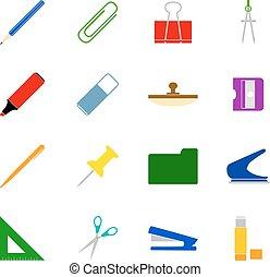 vettore, stationery, set, icone, illustrazione