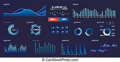 vettore, statistica, finanza, charts., moderno, grafico, grafico, infographic, diagramma, grafici, grafico, sagoma