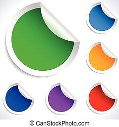 vettore, stickers., colorito, vuoto