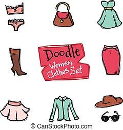 vettore, stile, moda, icone, scarabocchiare, set., collezione, mano, oggetti, disegnato, vestiti, donne