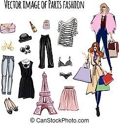 vettore, stile, set, parigi, articoli, moda