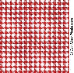 vettore, stoffa, checkered, picnic, rosso