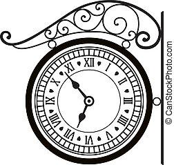 vettore, strada, retro, orologio