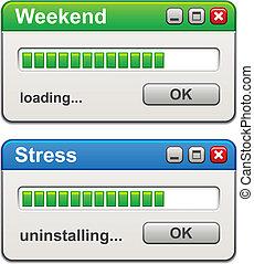 vettore, stress, caricamento, uninstalling, windows, computer, fine settimana