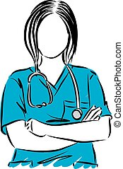 vettore, su, illustrazione, dottore, donna, chiudere