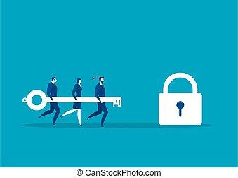vettore, successo, grande, squadra, aprire, lock., concetto, illustrazione, presa a terra, chiave, affari