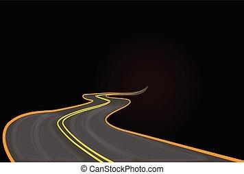 vettore, successo, strada