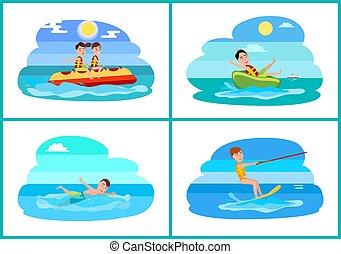 vettore, surfing, sport, collezione, illustrazione