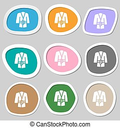 vettore, symbols., accappatoio, variopinto, carta, stickers., icona