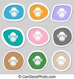 vettore, symbols., scimmia, variopinto, carta, stickers., icona