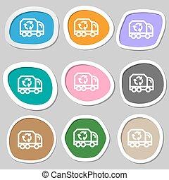 vettore, symbols., variopinto, carta, riciclare, stickers., icona
