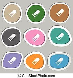 vettore, symbols., variopinto, chimica, carta, stickers., icona