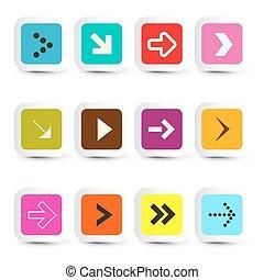 vettore, taglio, icone, -, frecce, carta, domanda, set, squadre