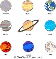 vettore, taglio, set, illustrazione, sistema, carta, solare, pianeti, art.