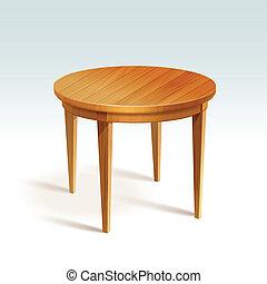 vettore, tavola, legno, rotondo, vuoto