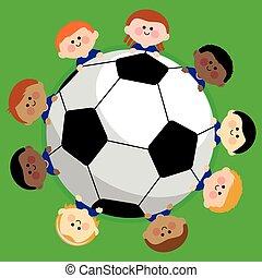 vettore, team., football calcio, illustrazione, bambini