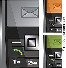 vettore, telefonare, set, sms