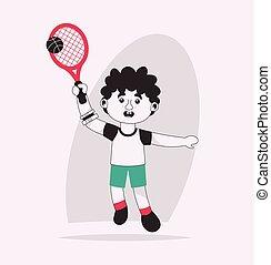 vettore, tennis, illustrazione, carattere, gioco, invalido, ragazzo