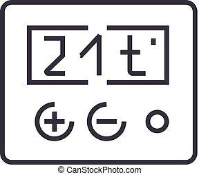 vettore, termostato, colpi, editable, illustrazione, segno, fondo, icona, linea