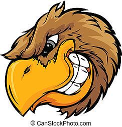 vettore, testa, illustrati, uccello, cartone animato