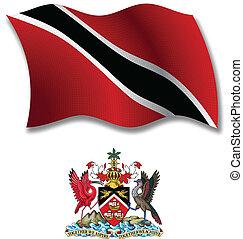 vettore, tobago, bandiera, ondulato, textured, trinidad