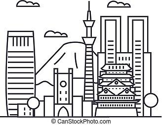 vettore, tokyo, colpi, editable, illustrazione, segno, fondo, icona, linea