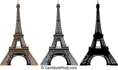 vettore, torre, eiffel, illustrazione