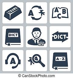 vettore, traduzione, set, dizionario, icone